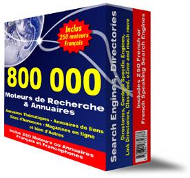 Votre site Web référencé dans 800.000 Moteurs et Annuaires Mondiaux dont 350 Français ou Francophones